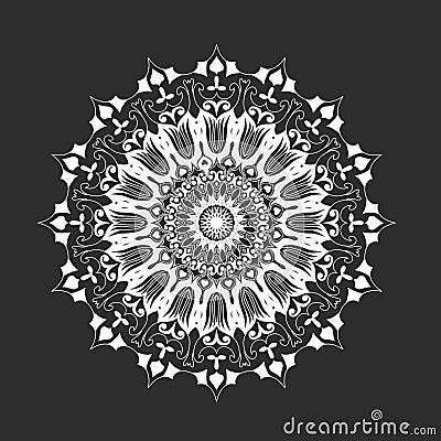 mandala rond blanc sur le fond noir abstrait illustration