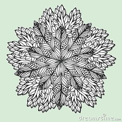 Mandala Unique Avec Des Feuilles Zentangle Rond Pour