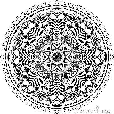 Mandala Zentangle Inspired Illustration Black Stock