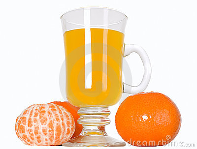 Mandarin fruit and orange juice in glass