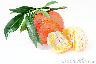 Mandarin. Tangerines with leaves