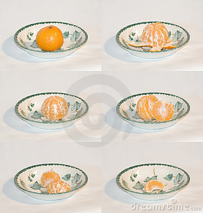 Mandarine being eaten