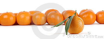 Mandarins, one with leaves