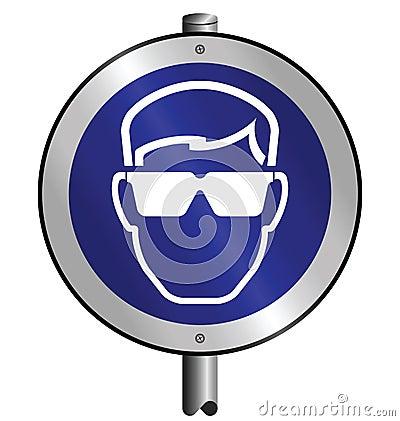 Mandatory goggles sign