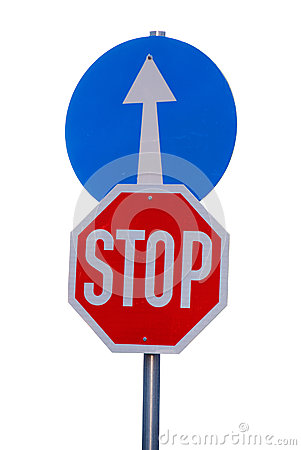 Mandatory road sign stop and go straight