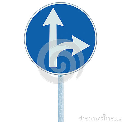 Free Mandatory Straight Or Right Turn Ahead, Traffic Lane Route Direction Sign Pointer Road Sign, Choice Concept, Blue Isolated Stock Image - 78762441