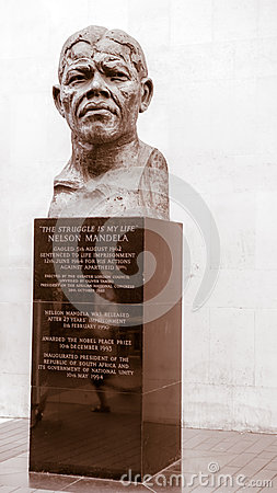 Mandela bust in London,  Royal Festival Hall Editorial Photo