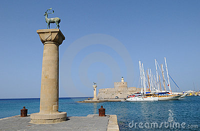 Mandraki Harbour 1 Stock Photo