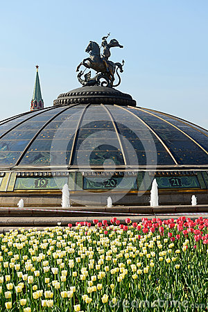 Manege Square and Monument on a glass cupola to Saint George and the Dragon