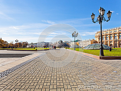 Manege Square in Moscow in autumn day Editorial Stock Image