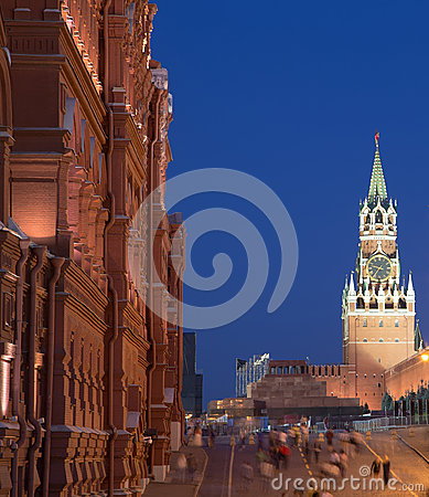 Manege Square at night, Moscow, Russia