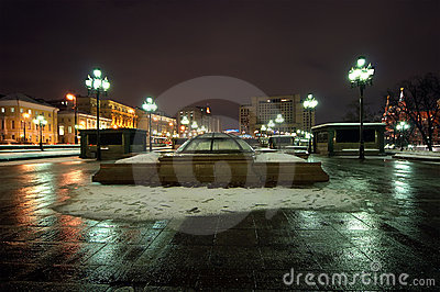 Manege Square winter s night, Moscow, Russia