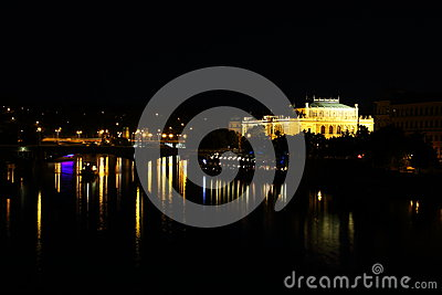 Manes bridge and Rudolfinum in Prague
