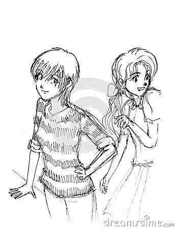 manga girls anime cartoon drawing stock photography