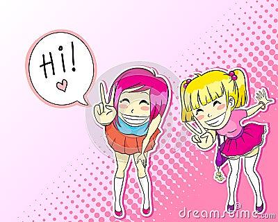 Manga style girls