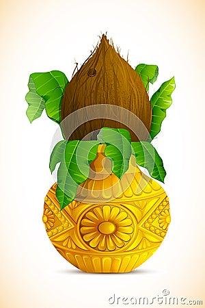 Free Mangal Kalash With Coconut Royalty Free Stock Photos - 24813108
