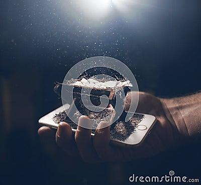 Free Manger Scene On A Smart Phone Stock Photo - 130508130