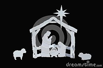 Manger Silhouette Baby Jesus Mary Joseph Lambs