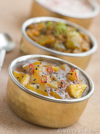 Mango Chutney With Lime Pickle And Raita Royalty Free Stock Photo ...