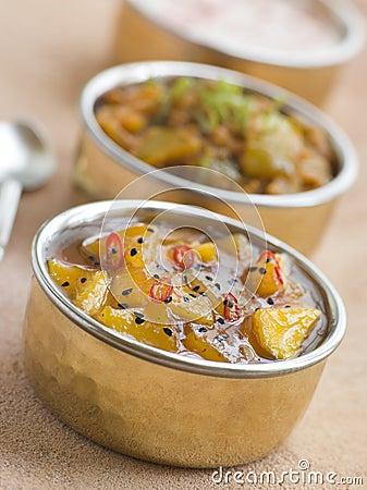 Mango Chutney with Lime Pickle and Raita