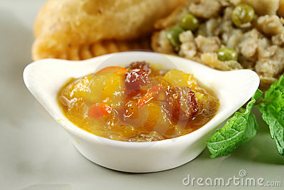 Mango Chutney With Samosa