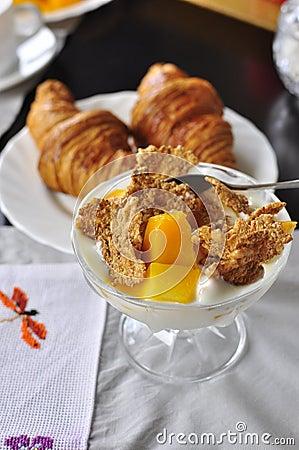 Mango croissant and cornflakes delicious breakfast
