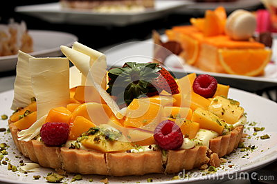 Mango Pie With Passion Fruit Cream Stock Image - Image: 30935731