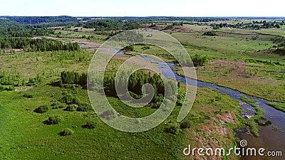 Manhã do vale de Izborsko-Malskaya em princípio de junho Arredores de Izborsk, Rússia filme