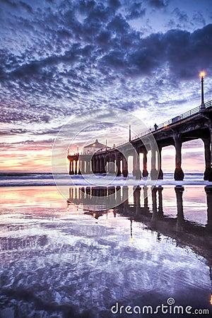Free Manhattan Beach Pier Nightfall HDR Royalty Free Stock Photos - 16915948