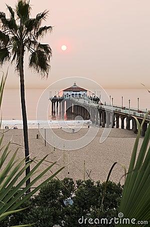 Manhattan Beach Pier Smokey Sunset