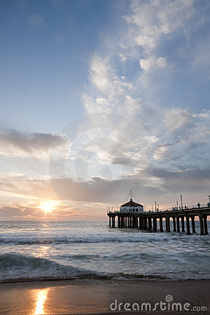 Manhattan Beach Pier Sunset Sky