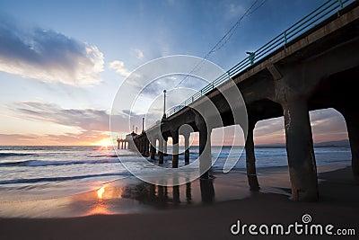 Manhattan Beach Pier Sunset Wide Angle