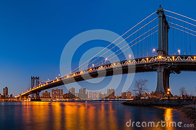 Manhattan Bridge at dusk Editorial Photography