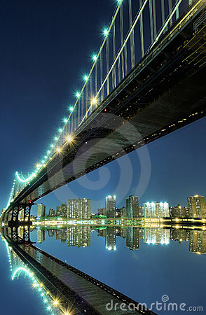 Manhattan Bridge At Night, New York City