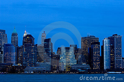 Manhattan downtown in blue