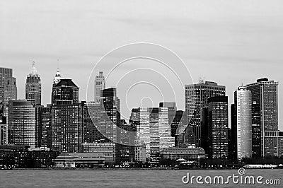 Manhattan downtown in blue
