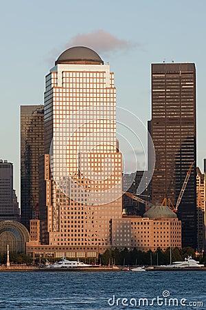 Manhattan Finantial District at sunset
