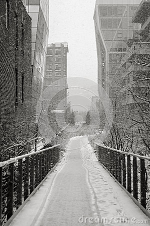 Manhattan Highline in winter, NYC