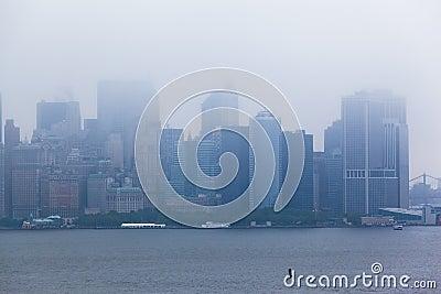Manhattan Island Buildings Under the Fog