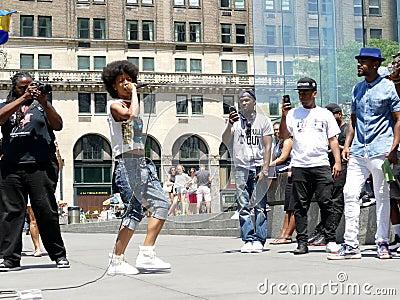 Manhattan New York - June 26, 2016: Street musicians rapping in New York. Editorial Stock Photo