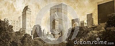Manhattan Panoramic on grunge
