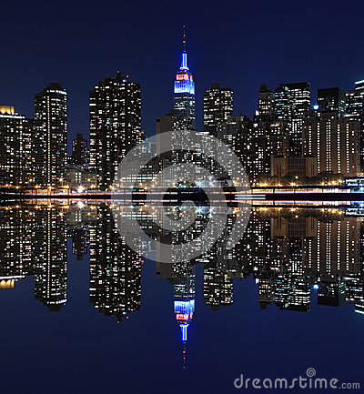 Free Manhattan Skyline At Night Lights, New York City Stock Images - 35545684