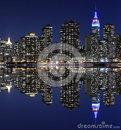 Free Manhattan Skyline At Night, New York City Stock Photography - 28248642