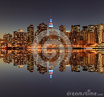 Free Manhattan Skyline At Night, New York City Stock Images - 28953824