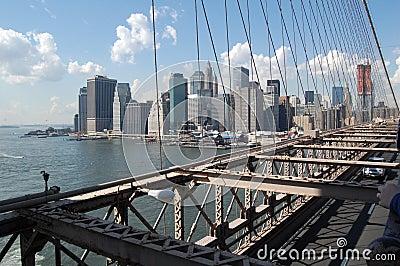 Manhattan Skyline from Brooklyn Bridge Editorial Photo