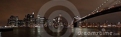 Manhattan Skyline and Brooklyn Bridge at Night