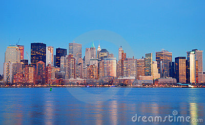 Manhattan Skyline at dusk, New York City
