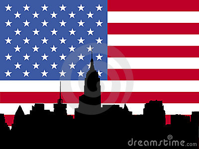 Manhattan skyline and flag