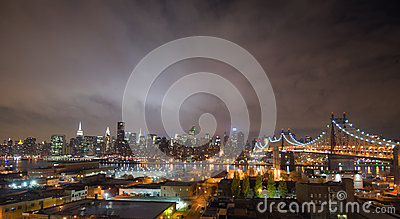 Manhattan skyline, new york at night Editorial Image