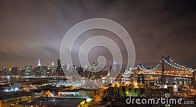 Manhattan skyline, new york at night Editorial Image